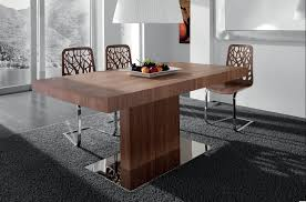 metal dining room chairs chrome: dining room rectangle brown wooden table with single stand combined with brown wooden chairs with