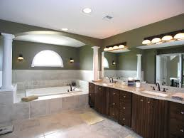 l modern bathroom lighting with 4 semi round wall lamps on green painted wall combined with round planted ceiling light on white ceiling bathroom vanity lighting ideas combined