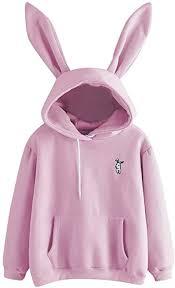 Sunhusing Ladies <b>Cute Rabbit</b> Ear Long Sleeve Hoodie Solid Color ...