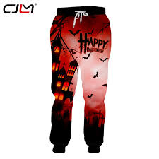 CJLM New 3D <b>Printed</b> Red Men's Sweatpants Bat House <b>Gothic</b> ...