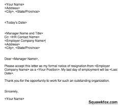 resignation letter example   squawkfoxresignation letter example