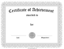 blank certificates certificate template printable word docs certificate of achievement1