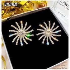 S925 Silver Post Lucky Goddess Sun Full Diamond Luxury ... - Vova
