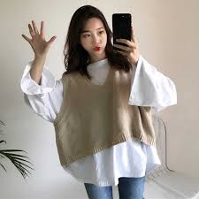 2018 Korean Ulzzang Autumn Loose Vest Sweater <b>Women Casual</b> ...