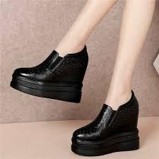 Black White <b>Women Cow</b> Leather Wedges High Heel Pumps ...