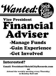 posters flyers brick city records a flyer seeking a financial adviser from the college of business put out by brick city
