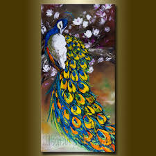 mordern cute bear oil painting animal home original peacock oil painting textured palette knife contemporary mode