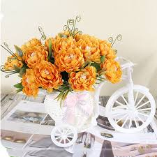 2019 Htmeing Artificial <b>Flower Set</b> Rattan Bicycle Basket <b>Flower</b> ...