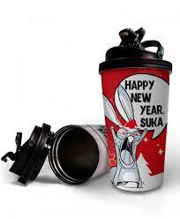 <b>Термостакан</b> ЗАЯЦ «<b>HAPPY NEW YEAR</b> SUKA»   la-print