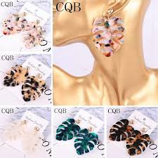 Acrylic resin leopard print ladies earrings acetate 2019 long leaves ...