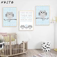 NDITB <b>Woodland Animal</b> Navy Blue Owl <b>Canvas</b> Poster <b>Cartoon</b> ...