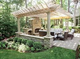 structure stone outdoor fireplace combine grill
