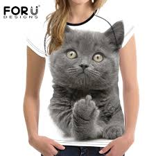 <b>FORUDESIGNS</b> Funny 3D Middle Finger Cat Printed <b>T Shirt Women</b> ...