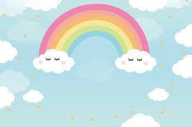 <b>Laeacco</b> Rainbow Backdrops Baby Cartoon <b>Cloudy Blue Sky</b> Child ...