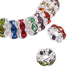 Crafts Beads Lot <b>50</b>/<b>100Pcs</b> Crystal Rhinestone Silver Plated ...
