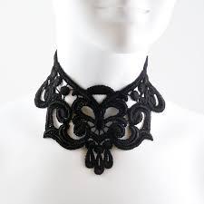 Intense Gothic <b>Black</b> Lace <b>Choker Necklace Full</b> Neck Large ...