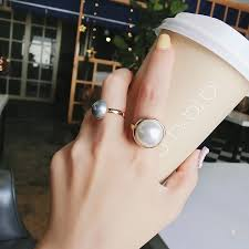 【In Stock】<b>2Pcs</b>/Set <b>Korean</b> Fashion <b>Retro</b> Pearl Ring Ins Gray Pearl ...