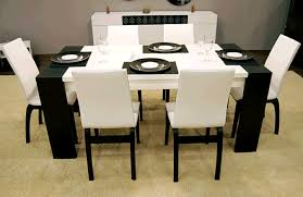 chair dining tables room contemporary: sweet black and white modern dining room decoration matched with white dining chairs and table