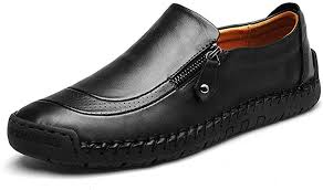 gracosy Men's <b>Leather Slip</b>-On <b>Shoes</b>, Loafer Flats Hand Stitching ...