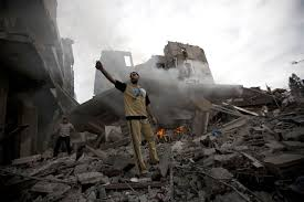 slaughter is not self defense the assault on gaza and the a palestinian man stands amid debris following an i air strike in gaza city on