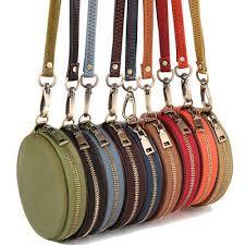 Women <b>Genuine Leather Round</b> Wristlet <b>Bag</b> Wallet Clutch Mini ...
