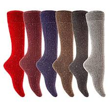 6 <b>Pairs Lot Women</b> Dot Wool Knee High Turn Up Rib Colorful Winter ...