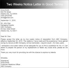 how how to write a two week notice resignation letter example two  weeks notice letter retail letter sample resignation