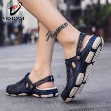 VESONAL 2019 New Summer Breathable Mesh Men's Sandals ...