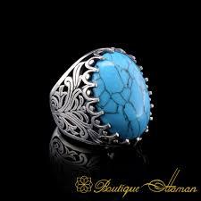 <b>Big Size</b> Ferooza Oval Turquoise Silver <b>Classic</b> Ring | Boutique ...