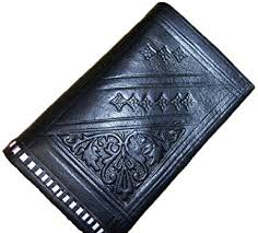 Handmade Moroccan By-fold Leather Wallet Medium Black <b>Vintage</b> ...