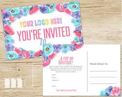 event flyer pop up boutique invite custom llr party event invitation 4x6 lula pop up invitation marketing flyer h o approved floral instant