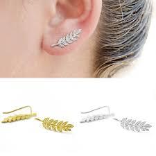 <b>1 Pair Fashion Women</b> Girl Cute Gold Silver Leaf Ear Stud Earrings ...
