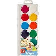 <b>Краски</b> акварельные <b>№1 School</b> Шустрики 12 цв б/кисти пластик