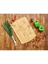 <b>Доска разделочная</b> 330*230*<b>10</b> мм бамбуковая с рисунком, <b>Катунь</b>