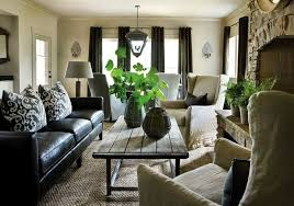 fresh style living room decoratin ideas with black leather sofa black leather sofa