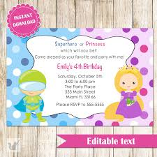 superhero and princess invitation super heroes printable birthday party invites editable file instant 🔎zoom