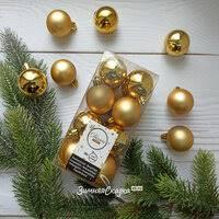 «<b>Kaemingk Набор</b> пластиковых шаров Золотой 40 мм, 16 шт, mix ...