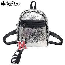 <b>NIGEDU mini</b> backpack women leather backpacks silver/black/travel ...
