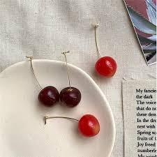 2019&Cute Wine <b>Red Cherry</b> Pendant Dangle Ear Stud Earring ...