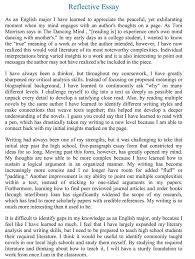 description of the reflective essay for english ii class the goal of the reflective essay is to describe how a person event or