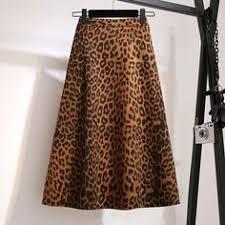 High waist leopard midi skirt hidden elasticized waistband silk satin ...