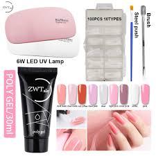 <b>ZWTale</b> 30ml <b>Polygel Set</b> with Lamp Claar Pink <b>Poly Gel</b> Nail Polish ...