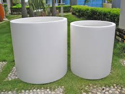 white modern planter  gardens and landscapings decoration