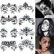 Funpa 8 Sheets Face Gems <b>Fashion Shiny Rhinestone</b> Face Jewels ...