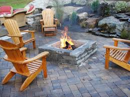 awesome rock garden and stunning tile flooring under wooden chairs round diy outdoor fireplace amusing cool diy patio