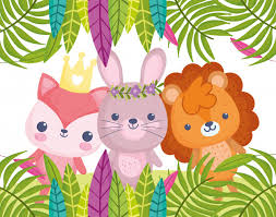 Cute animals, little <b>cartoon lion rabbit</b> and fox foliage | Premium Vector