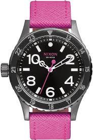 <b>Часы NIXON 38-20 LEATHER</b> (Black/Hot Pink) | www.gt-a.ru
