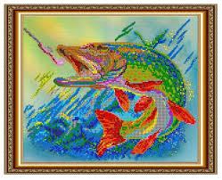 Светлица набор для вышивания бисером <b>Рыба на крючке</b> 30 х ...