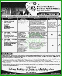 jobs in sukkur institute of business administration iba jobs iba jobs in sukkur institute of business administration jan 2017