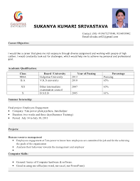 mba resume format resumes format for freshers